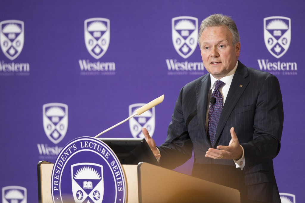 London, Ontario ---2015-02-24--- Stephen Poloz, governor of the Bank of Canada speaks at the 2015 President's Lecture Series at Western University February 24, 2015. GEOFF ROBINS Western University