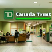 TORONTO, ONTARIO, CANADA - 2014/10/02: TD Bank branch entrance. The Toronto-Dominion Bank is a multinational banking and financial services corporation. It is the second-largest bank in Canada. (Photo by Roberto Machado Noa/LightRocket via Getty Images)
