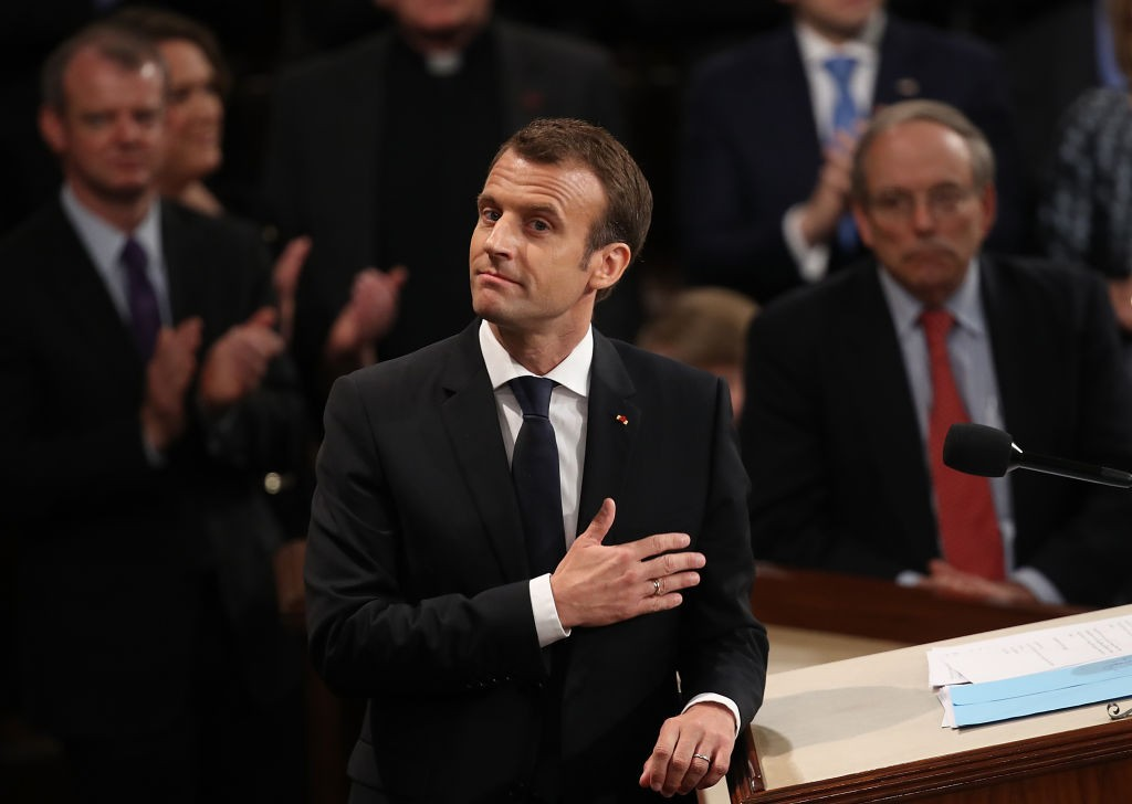 WASHINGTON, DC - APRIL 25: French President Emmanuel Macron reacts to a standing ovation after addressing a joint meeting of the U.S. Congress at the U.S. Capitol April 25, 2018 in Washington, DC. Macron met yesterday with U.S. President Donald Trump and today turns his attention to the U.S. legislative body. (Photo by Win McNamee/Getty Images)