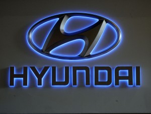 BRUSSELS, BELGIUM - JANUARY 22: The Hyundai corporate logo is seen at the International Car Show (salon des voitures) at Heysel, on January 22, 2008 in Brussels, Belgium. (Photo by Mark Renders/Getty Images)