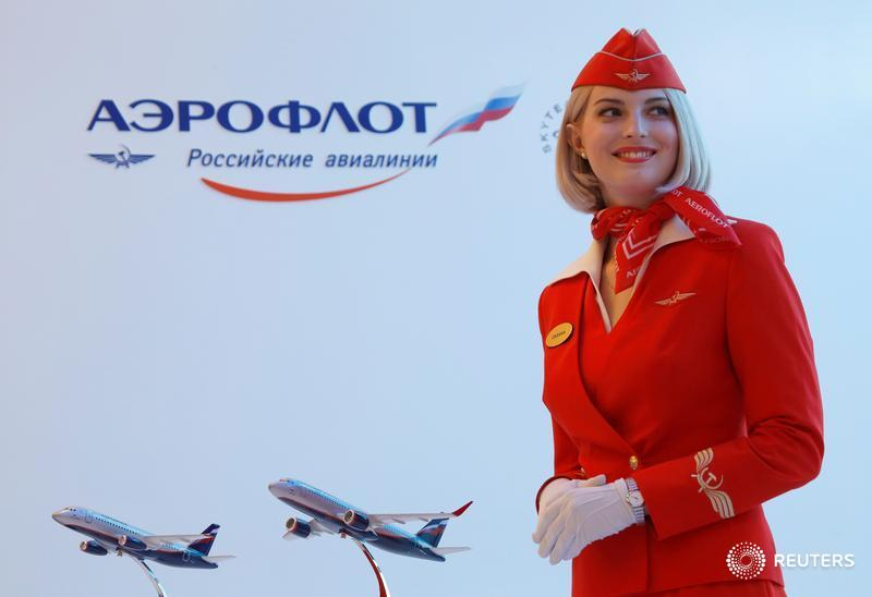 The logo of Russian state airline Aeroflot is pictured at the company's stand during the St. Petersburg International Economic Forum 2016 (SPIEF 2016) in St. Petersburg, Russia, June 17, 2016. REUTERS/Sergei Karpukhin - D1AETMILTJAC